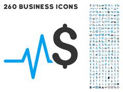 Financial Pulse Icon with Flat Vector Set - stock illustration