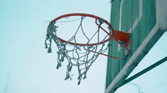 Old Basketball net on outdoor court 4k UHD (3840x2160) Stock Footage