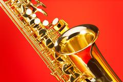 Fragment view of alto saxophone with bell and keys Stock Photos