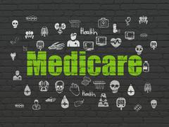 Healthcare concept: Medicare on wall background Stock Illustration