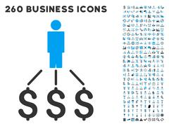 Person Expenses Icon with Flat Vector Set Stock Illustration