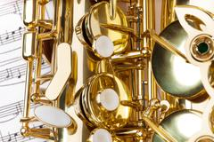 Close-up detailed view of alto saxophone keys Stock Photos