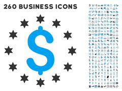 Sparkle Dollar Icon with Flat Vector Set - stock illustration
