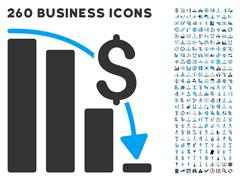 Financial Epic Fail Icon with Flat Vector Set - stock illustration