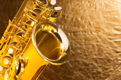 Close-up view of alto saxophone bell and keys Stock Photos