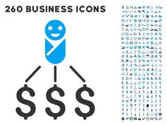 Newborn Expenses Icon with Flat Vector Set - stock illustration