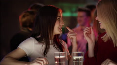 Girls chat at the bar Stock Footage