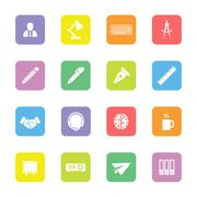 colorful flat business and vector icon set on rounded rectangle - stock illustration