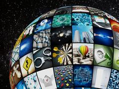 Globe covered with TV screens Stock Illustration