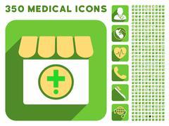 Drugstore Icon and Medical Longshadow Icon Set Stock Illustration