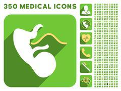 Embryo Cord Icon and Medical Longshadow Icon Set - stock illustration