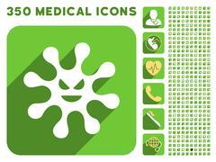 Evil Bacteria Icon and Medical Longshadow Icon Set - stock illustration
