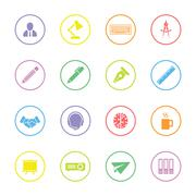 colorful flat business and office icon set with circle frame - stock illustration