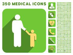 Father With Son Icon and Medical Longshadow Icon Set Stock Illustration