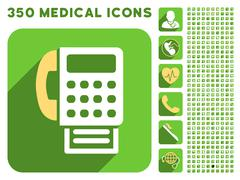 Fax Icon and Medical Longshadow Icon Set - stock illustration