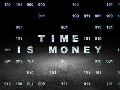 Timeline concept: Time Is money in grunge dark room Stock Illustration