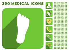 Foot Sole Icon and Medical Longshadow Icon Set Stock Illustration