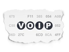 Web development concept: VOIP on Torn Paper background - stock illustration