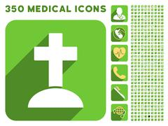 Grave Icon and Medical Longshadow Icon Set Stock Illustration