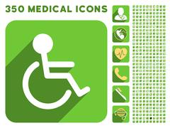 Handicapped Icon and Medical Longshadow Icon Set - stock illustration