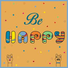 Inscription Be Happy. Hippy Letters - stock illustration