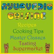 Inscription Ayurvedic Cuisine. Colored Letters - stock illustration