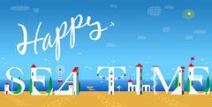 Inscription Happy sea time. Vector Illustration - stock illustration