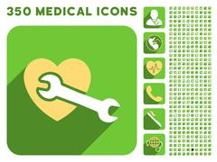 Heart Surgery Icon and Medical Longshadow Icon Set - stock illustration