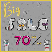 Inscription Big Sale 70%. Vector - stock illustration