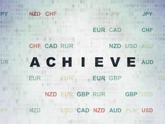 Finance concept: Achieve on Digital Paper background - stock illustration