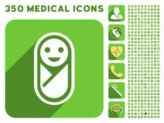 Infant Icon and Medical Longshadow Icon Set - stock illustration