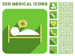 Infected Patient Bed Icon and Medical Longshadow Icon Set - stock illustration
