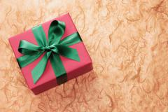 Gift-wrapped box Stock Photos