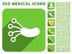Infection Microbe Icon and Medical Longshadow Icon Set - stock illustration
