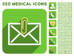 Mail Attachment Icon and Medical Longshadow Icon Set Stock Illustration