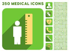 Man Height Meter Icon and Medical Longshadow Icon Set - stock illustration