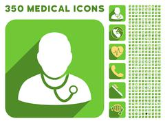 Medic Icon and Medical Longshadow Icon Set Stock Illustration