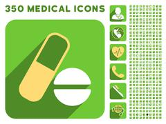 Medication Icon and Medical Longshadow Icon Set - stock illustration