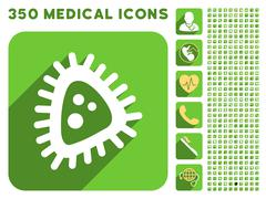Micro Parasite Icon and Medical Longshadow Icon Set Stock Illustration