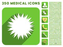 Microbe Spore Icon and Medical Longshadow Icon Set Stock Illustration