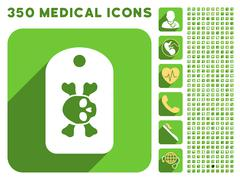 Morgue Tag Icon and Medical Longshadow Icon Set - stock illustration