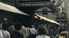 New York 1982: people walking outside Bloomingdale's Stock Footage