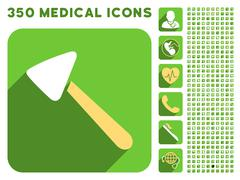 Neurologist Hammer Icon and Medical Longshadow Icon Set - stock illustration