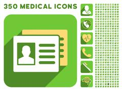 Patient Accounts Icon and Medical Longshadow Icon Set Stock Illustration