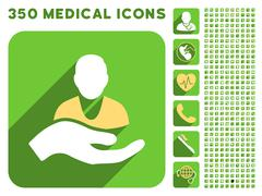 Patient Assistance Icon and Medical Longshadow Icon Set Stock Illustration