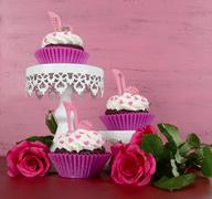 International Womens Day, March 8, cupcakes with high heel stiletto fondant s Stock Photos