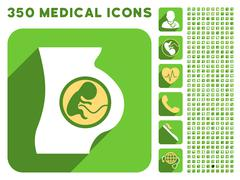 Pregnant Woman Anatomy Icon and Medical Longshadow Icon Set Stock Illustration