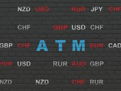 Currency concept: ATM on wall background Stock Illustration
