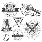Vector set of baseball labels in vintage style. Sport concept. Bat and ball - stock illustration