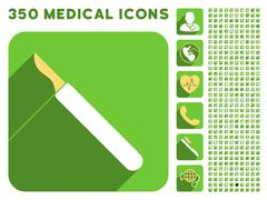 Scalpel Icon and Medical Longshadow Icon Set Stock Illustration